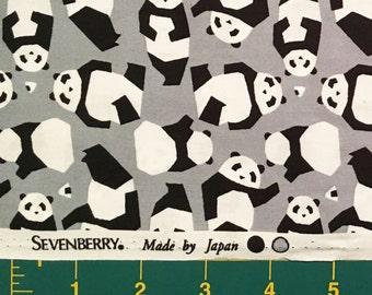Pandas on Grey, Sevenberry, Japanese Import Fabric, 100% Cotton Sheeting Fabric