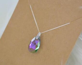 Sterling Silver Paradise Shine Pear (Swarovski) Crystal Necklace