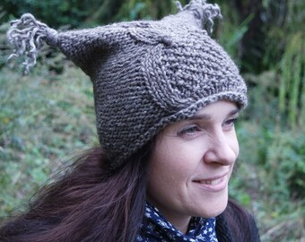 Grey Knit Hat Crazy Owl Womens Accessories Fall Fashion Winter Hat Wool READY TO SHIP