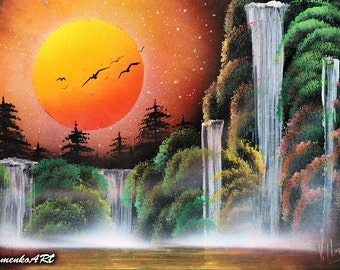 orange picture trees and bushes waterfall painting spray paint art. Black Bedroom Furniture Sets. Home Design Ideas