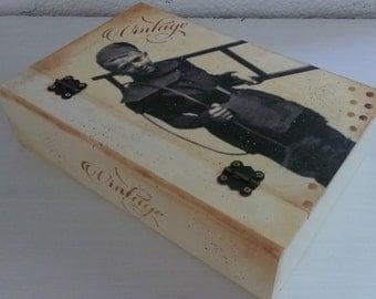 Box book decoupage chimney man