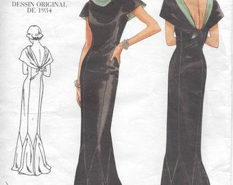 "1934 Vintage VOGUE Sewing Pattern DRESS B34""-36""-38"" (R403) Vogue 2609"