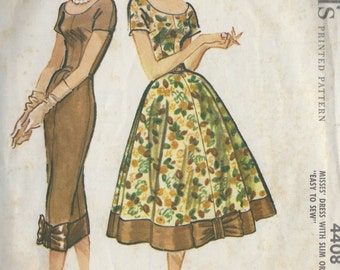 1957 Vintage Sewing Pattern B34 DRESS (1245) McCall's 4408