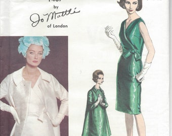 "1950s Vintage VOGUE Sewing Pattern B36"" COAT & DRESS (193R) By Jo Mattli Vogue 1407"