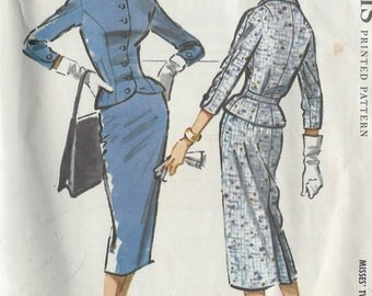 1957 Vintage Sewing Pattern B36 SUIT - SKIRT & JACKET (R652) McCall's 4388