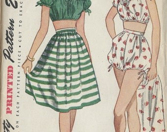 "1945 WW2 Vintage Sewing Pattern B30""-W25"" SHORT, TOP & SKIRT (1303) Simplicity 1621"