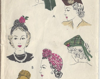 Incredible Vintage Vogue Pattern 6121 Bandeau Cloche Pleated Pill Box View Hairstyle Inspiration Daily Dogsangcom