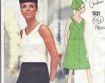 1968 Vintage VOGUE Sewing Pattern DRESS B38 (1161) By Pierre Cardin