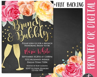 Brunch and Bubbly Bridal Shower Invitation, Brunch and Bubbly Invitation, Bridal Brunch Invitation, Bridal Shower Brunch