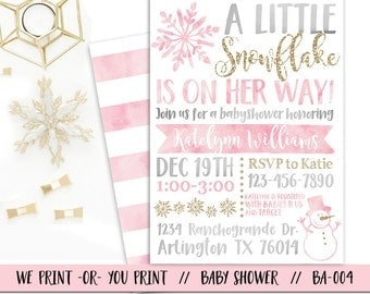 Snowflake Baby Shower Invitation, Winter Baby Shower Invitation, Winter Wonderland Baby Shower Invitation, Girl Snowflake Baby Shower