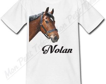 T-shirt child horse personalized with the name of your choice
