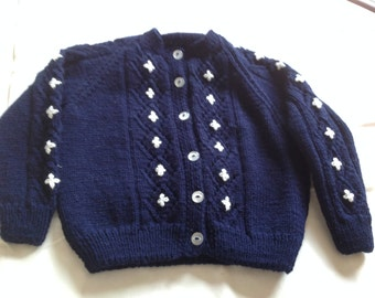 Navy and white embroidered cardigan