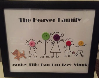 Button Family Frame Personalised