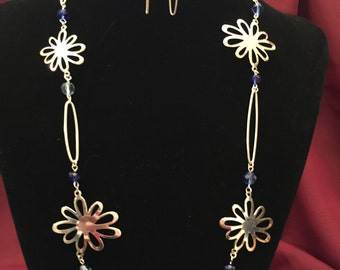 Blue Floral Beaded Necklace and Earring Set
