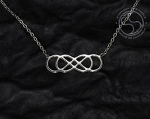 Double Infinity Symbol Pendant Stainless Steel Jewelry Ouroboros Necklace Infinity Knot Logo Lemniscate Emblem Mobius Strip Sign Medallion