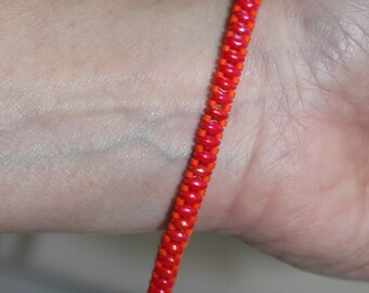 Rose red superduo beaded bracelet