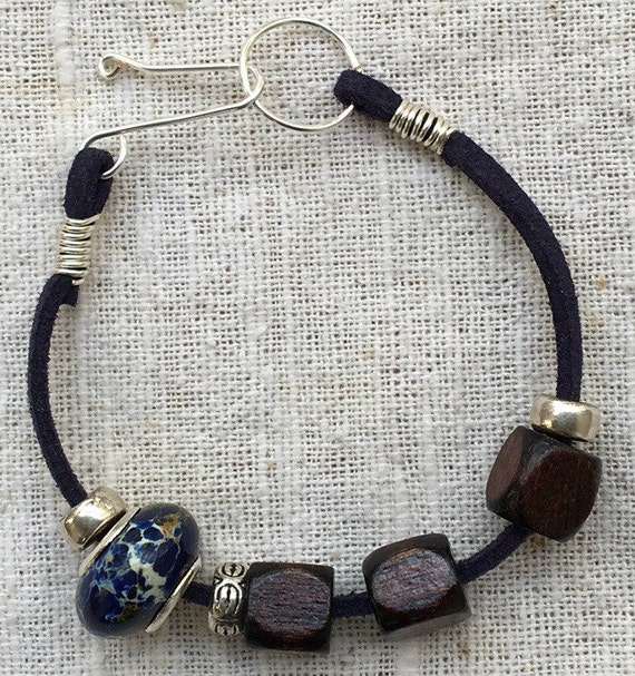 Blue bead bracelet, blue beaded bracelet, blue bracelet, blue jewelry, imitation suede bracelet, faux suede cord, beaded bracelet
