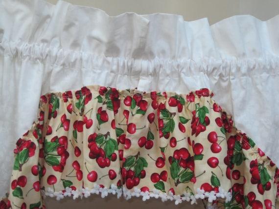 RED Kitchen Curtains-Red CHERRY Curtains-Red Kitchen