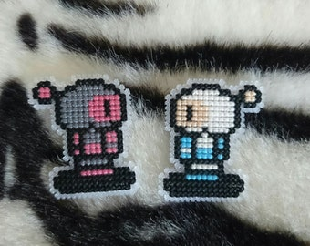 Cross Stitch Bomberman Badges