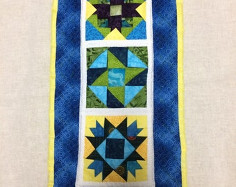 Blue, Green and Yellow Mini Wall quilt