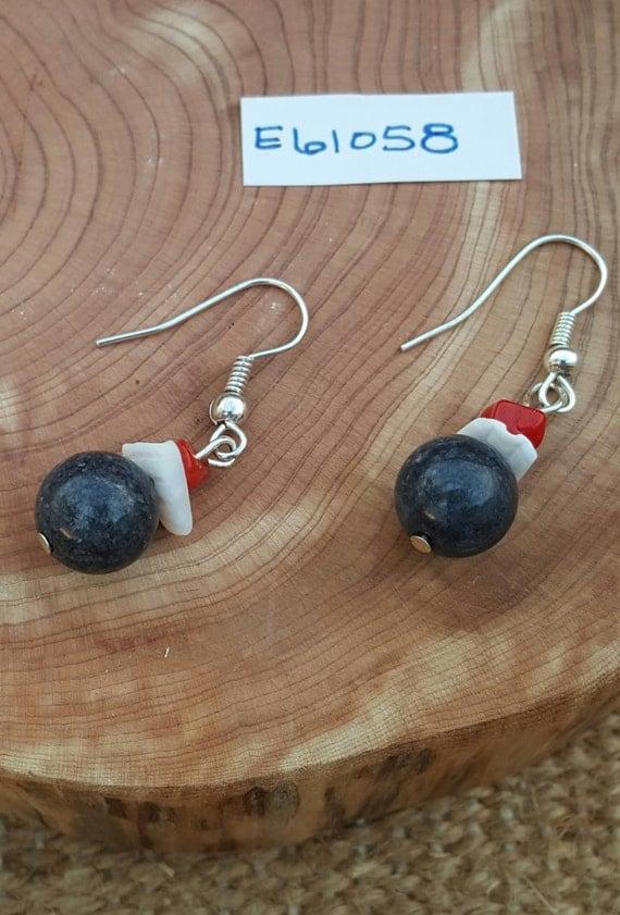 Grey Red White Earrings / Dark Grey Stone Earrings / Shell and Natural Stone / Dangle Earrings / Hippie Earrings / Boho Jewelry /E61058