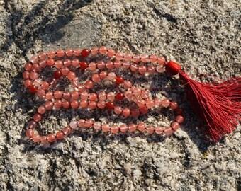 Jade,Ruby,Coral Guru Bead, 108+1 bead Mala