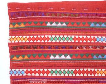 Red Color Patchwork Fabric Tribal Textile Crafts