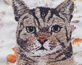 Bespoke Cat Portrait, Handmade, Embroidered, Pet Portrait