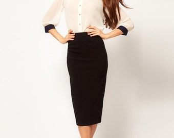 Elasticated cotton pencil skirt