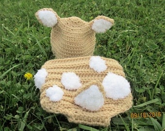 Baby Fawn Hat and Diaper Cover Costume Photo Prop