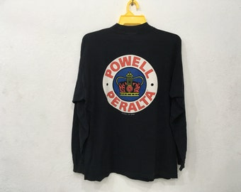 Ultra Rare!! Vintage POWELL PERALTA Supreme Skateboard Streetwear Bones 90s black Colour LongSleeve Tshirt Large Size