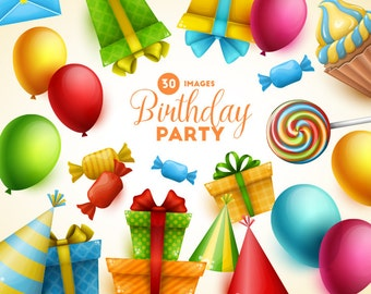Birthday clipart. Birthday party clip art collection. Vector art. Digital graphic.