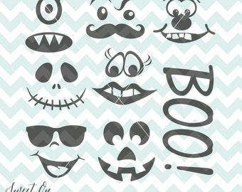 Pumpkin Faces svg - Create a face Halloween Jack O Lantern Decal SVG, PNG, JPEG Vector Cricut Silhouette Cut Files Instant Download