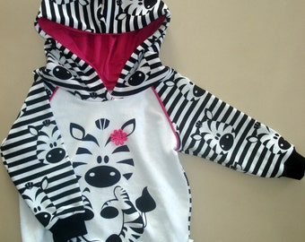 Zebra hoodie for toddlers / Baby girl outfit / baby clothes / baby girl clothes / toddler girl clothes