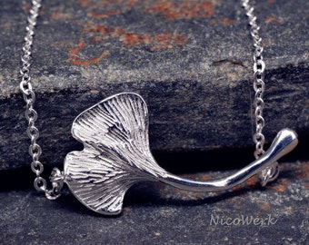 Silver necklace with pendant GinkoBlatt necklace ladies jewelry 925 Silver necklace SKE141