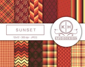 Sunset Mix Digital Paper, Autumn Scrapbooking paper, Plaid Background, Pattern Digital Paper, Sunset Scrapbooking Paper