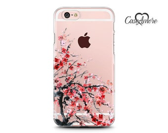 Clear Rubber case, Clear Samsung Galaxy case, iPhone 6 / iPhone 6s case, iPhone 7 case, iPhone 7 Plus case, Galaxy S8 case, cherry blossom