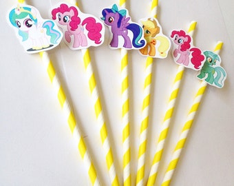 12 Mini Little Pony straws