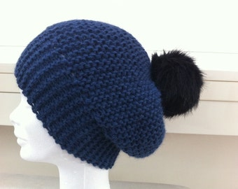 Denim Blue bonnet in Alpaca