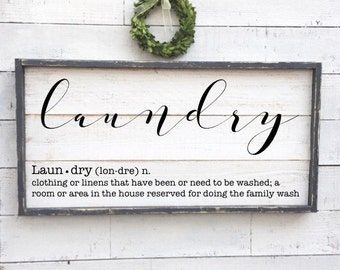 Laundry Sign Definition Vintage Wood