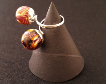 "ring double Silver 925 ""AUTUMN"""