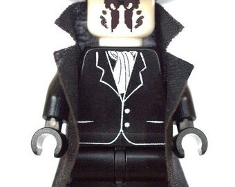 Custom Design Minifigure - Rorschach in Black Suit from Watch Men Printed On LEGO Parts