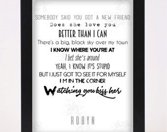 Robyn - Dancing on my own Pop and Indie Prints Typography Poster Print