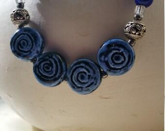 On sale Blue spiral clay necklsce
