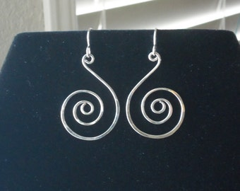 Hand forged solid sterling silver spiral earrings