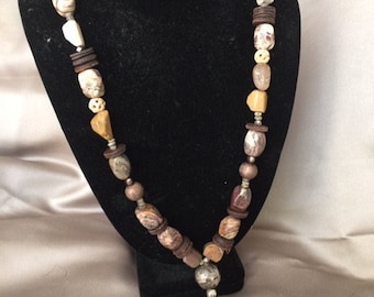 natural stone and silver necklace