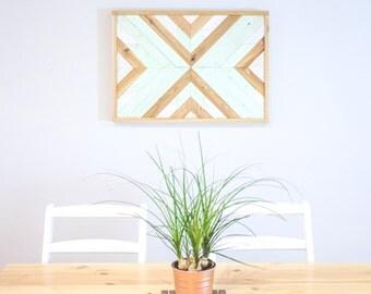 Reclaimed Tribal Wood Wall Art | Geometric Sign | Southwest | Aztec Sign | Rustic | Mint Green | Wall Decor | 18 x 25