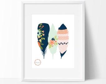 Decorative Feathers Wall Print_0026WP