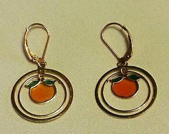 Jewelry earrings peaches gold vintage repurposed