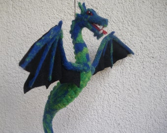 handmade Feltdragon to hang, textile art, room decoration, unique, fantasy, needle felted, farytale, gift, natural material, whool, blue